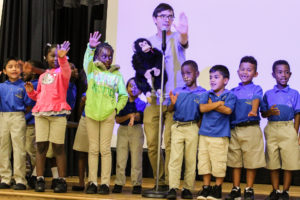 Campbell students perform a song about conflict resolution
