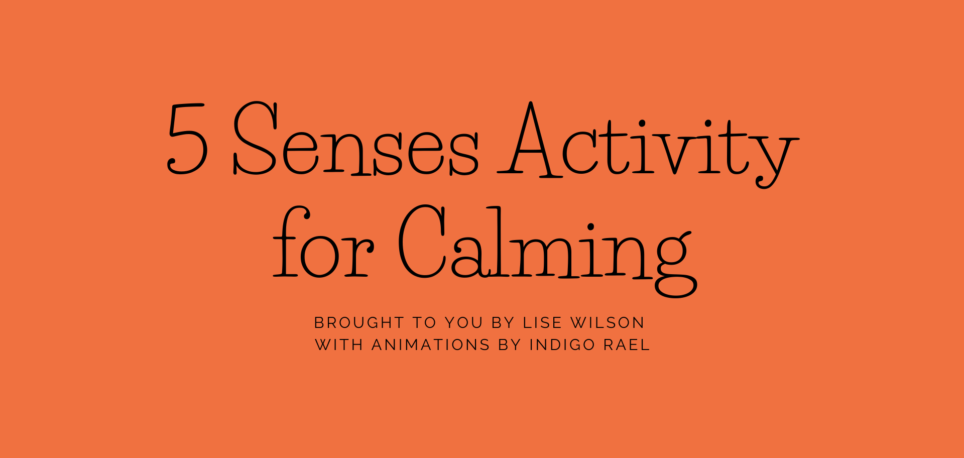 5 Senses Activity for Calming