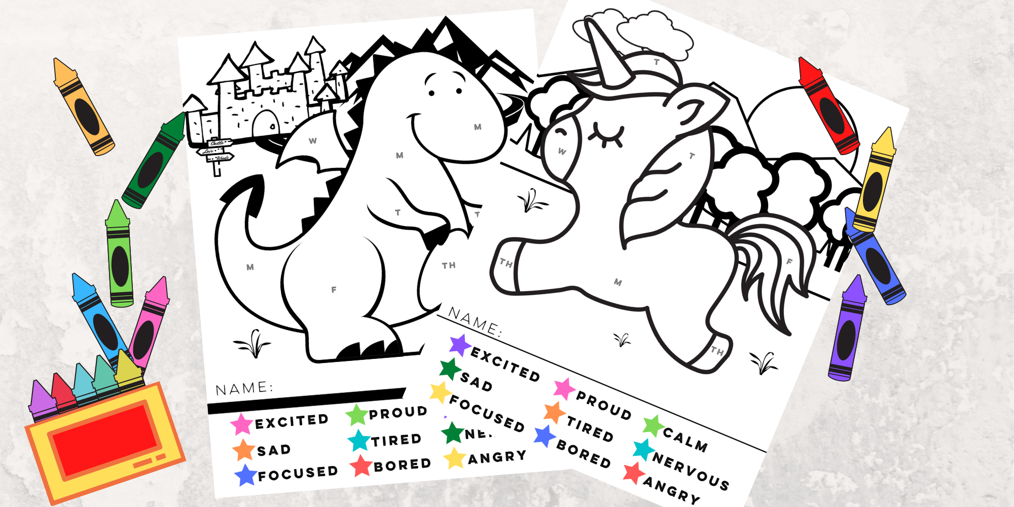 Monday-Friday Emotion Check-In Coloring Pages: Mythological Creatures