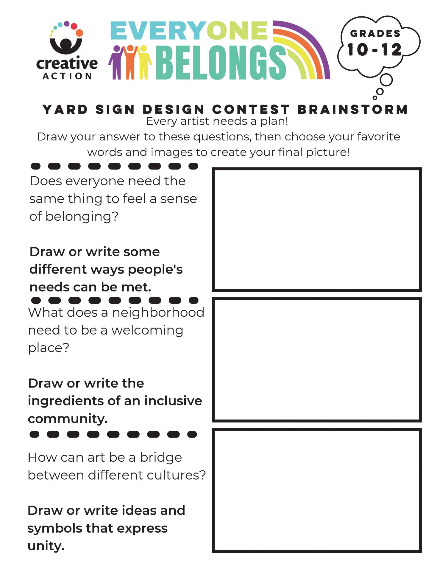 Brainstorm your yard sign worksheet for 10th - 12th grades