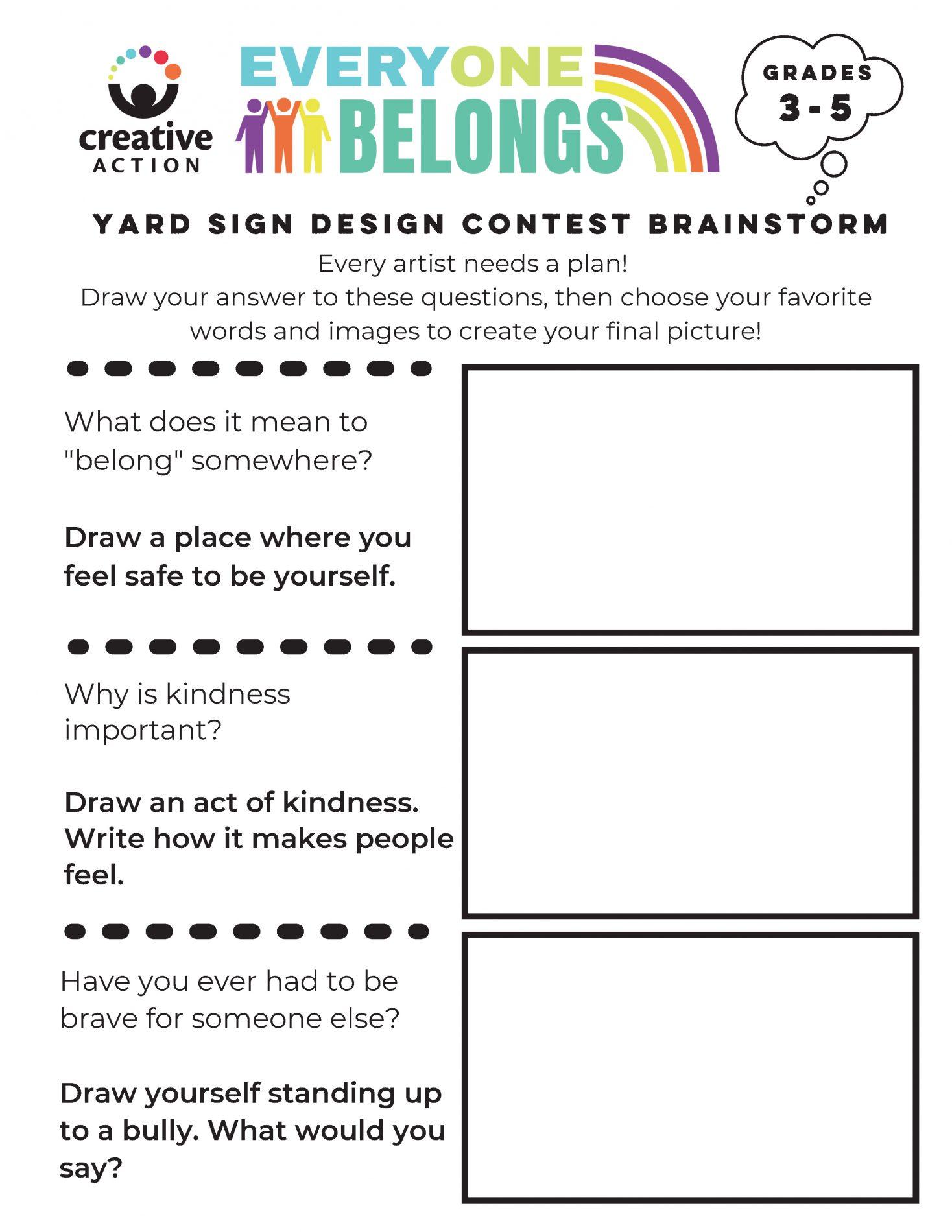 Brainstorm your yard sign worksheet for 3rd-5th grades