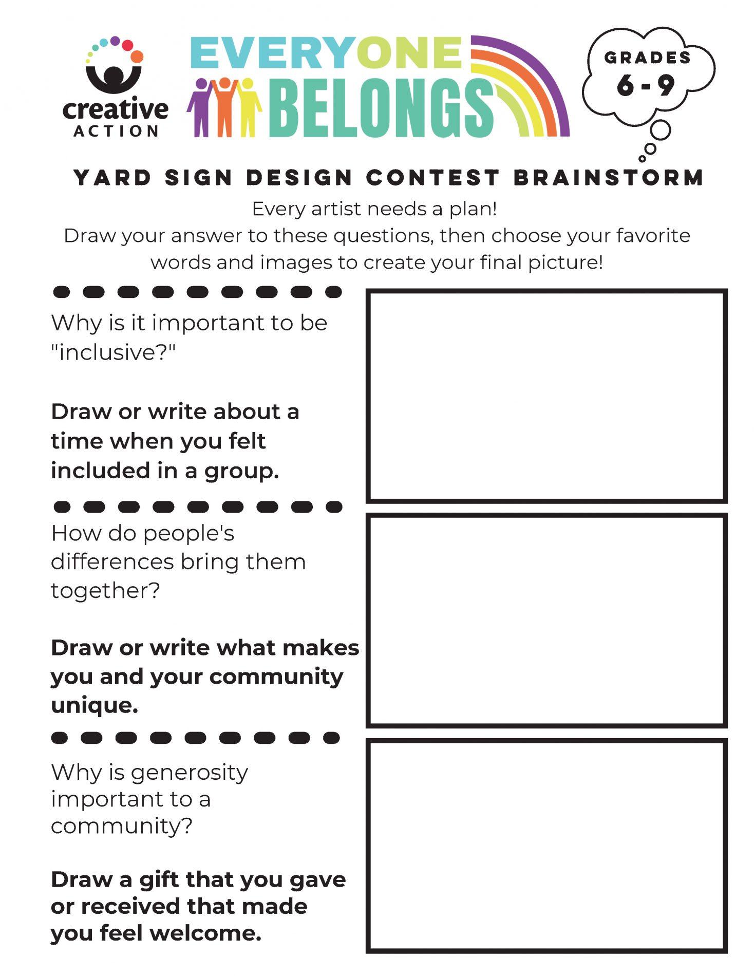 Brainstorm your yard sign design worksheet for 6th - 9th grades